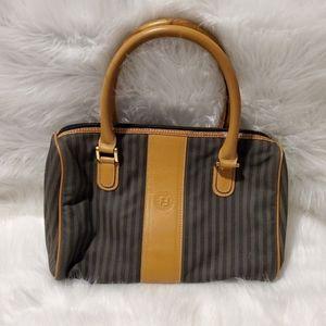 Fendi Vintage Leather Trimmed Coated Pequin Bag